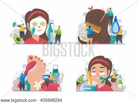 The Girl Getting Anti-aging And Cleansing Cosmetic Procedures In A Beauty Salon. Abstract Metaphor.
