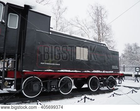 Retro Train. Locomotive Of The 19th Early 20th Century. Vintage Style. Black Train With Red Wheels.
