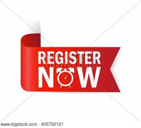 Register Now For Banner Design. Ribbon Banner. Modern Promotion Template. Sale Website Banner.