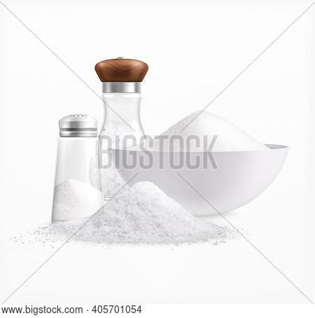 Sea Salt Realistic Composition With Piles Of White Salt In Plates And Glass Jars With Caps Vector Il