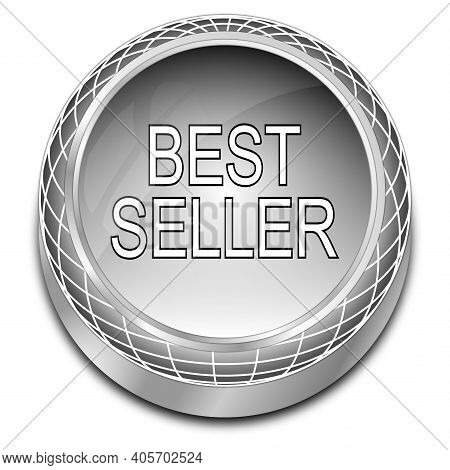 Bestseller Button Glossy Silver - 3d Illustration