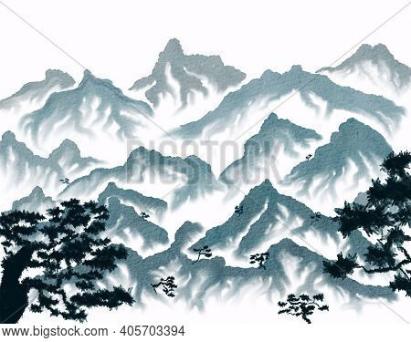 Mountain Landscape With Pine Trees In Japanese Style. Hand Drawn Watercolor Illustration On White Ba