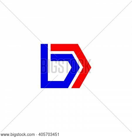 Simple Geometric Strip Line Letter Bd Logo Vector