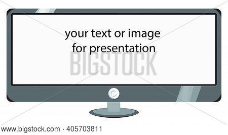 Ultrawide, Wide Monitor Icon, Desktop, Vector Image For Article, Presentation Frame, Infographics