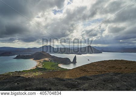 Famous Volcanic Rock Formation Of The Pinnacle Atthe The Seascape Of Bartolome Island At The Galapag