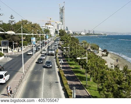 Limassol, Cyprus, October 26th, 2020: Seafront Road With Traffic, View From The Cyta Footbridge