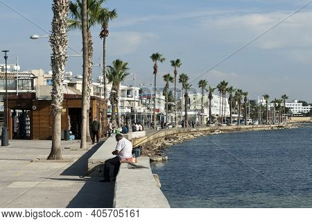 Paphos, Cyprus, December 21st, 2020: View Of Seafront Promenade
