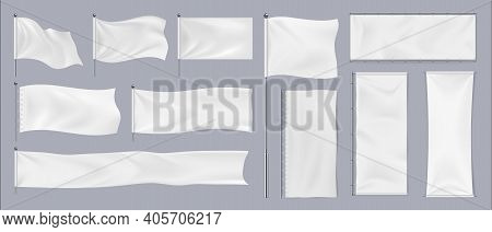 Realistic Textile Banners. 3d Blank Waving Cotton Flags. Empty Fabric Signboards For Advertising. Wh
