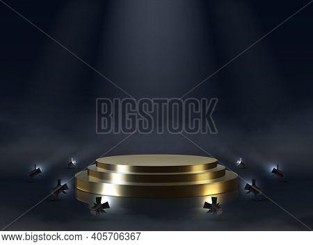 Golden Pedestal. Realistic Empty Award Or Ceremony Podium. Illuminated Stepped Platform With Spotlig