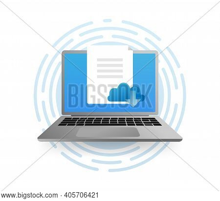 Cloud Downloading Concept Illustration In A Laptop. Downloading App From Cloud Storage.