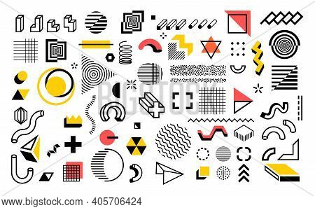 Abstract Geometric Shapes. Modern Line Memphis Graphic Elements. Decorative Background With Minimal