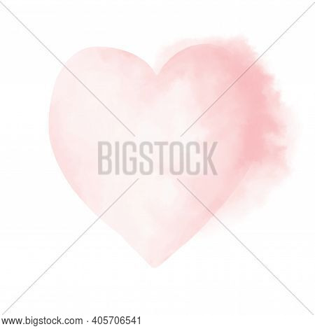 Pastel Pink Heart On A White Background. Valentines's Day Card Witout Text. Romatic Print With Water