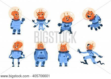 Cartoon Alien Cosmonauts. Cute Space Astronauts, Funny Ufo Crew. Friendly Orange Cosmic Monsters In