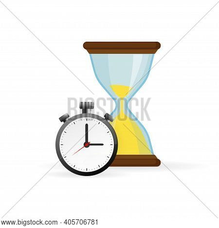 Hourglass And Analog Clock Icons In Flat Style, Sandglass Timer On A White Background. Vector Design