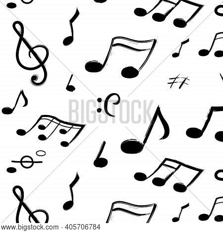 Music Notes Pattern. Seamless Texture Of Hand Drawn Musical Symbols. Isolated Black Sound Signs On W