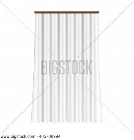 Realistic White Curtain. Silk Drapery On Window. Classical Room Decor Element, Interior Accessory Fo