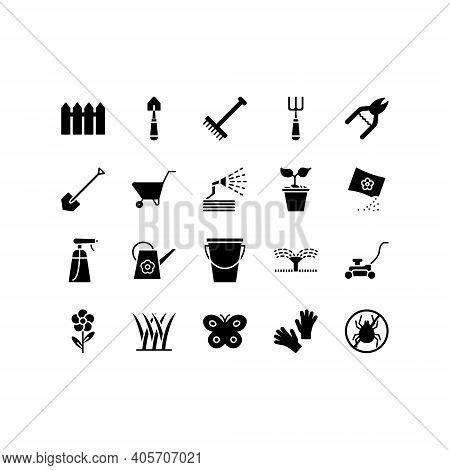 Set Of Gardening And Seeding Activities Line Icons. Contains Such Icons As Auto Watering, Seeding, G