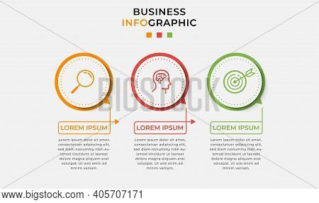 Minimal Business Infographics Template. Timeline With 3 Steps, Options And Marketing Icons .vector L
