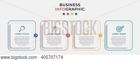 Minimal Business Infographics Template. Timeline With 4 Steps, Options And Marketing Icons .vector L