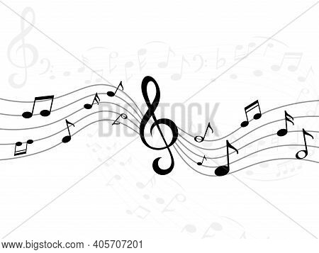 Music Notes Wave. Curve Lines With Musical Signs. Sound Recording Stripes. Piano Melody Signature. D