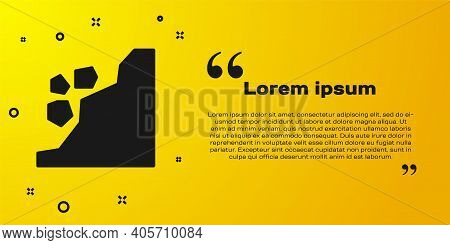 Black Landslide Icon Isolated On Yellow Background. Stones Fall From The Rock. Boulders Rolling Down