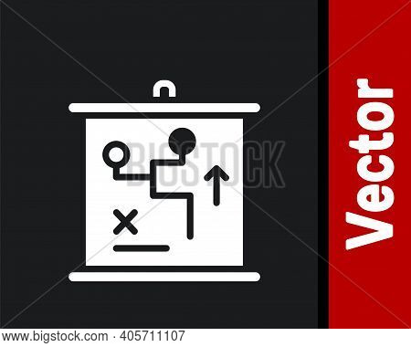 White Planning Strategy Concept Icon Isolated On Black Background. Cup Formation And Tactic. Vector