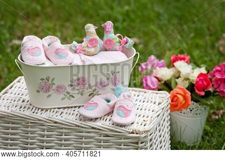 Close-up Of Baby Girl Shoes Outdoor. Baby Shower