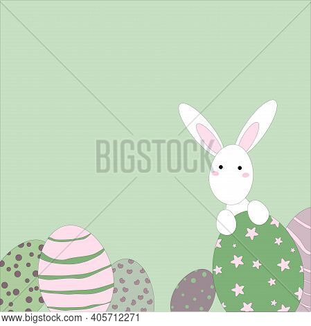 Easter Bunny And Easter Eggs On A Gentle Green Background Vector Illustration