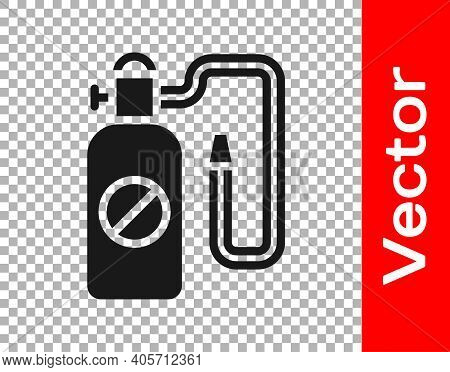 Black Pressure Sprayer For Extermination Of Insects Icon Isolated On Transparent Background. Pest Co