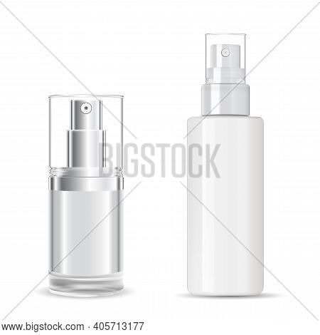 Cosmetic Spray Bottle. Transparent Plastic Package Design Mockup. Clear Perfume Bottle Template. Ato