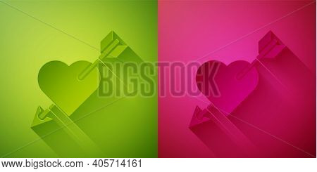 Paper Cut Amour Symbol With Heart And Arrow Icon Isolated On Green And Pink Background. Love Sign. V