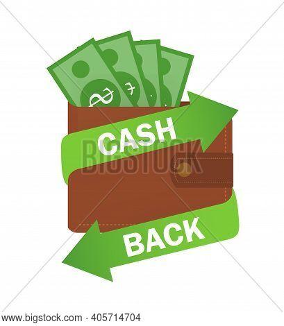 Ribbon With Cashback. Symbol, Logo Illustration. Concept Design. Dollar Icon. Save Money. Cashback C