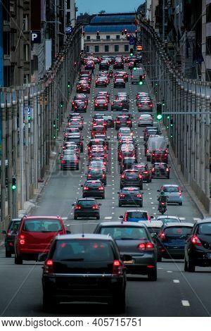 Traffic Jam On Rue De La Loi, Brussels, Belgium.