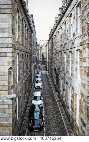 St-malo, France, Sept 2020, View Of Feydeau Street From The Ramparts Of The City