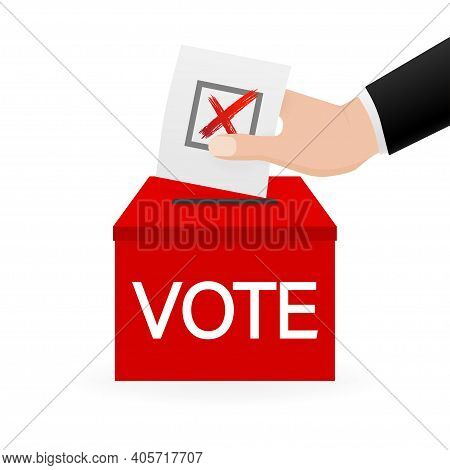 Vote Box, Great Design For Any Purposes. Voting Hand Concept. Minimal Design. 3d Illustration.