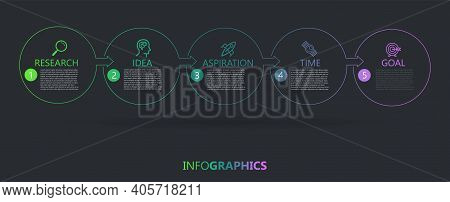 Minimal Business Infographics Template. Timeline With 5 Steps, Options And Marketing Icons .vector L