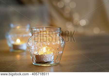 Lovely Candles On The Table, Cozy Home Interior Background