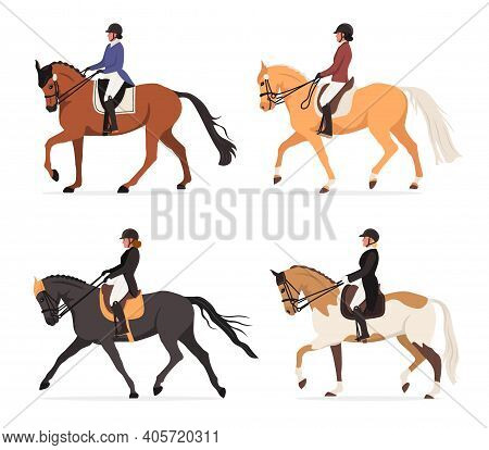 Vector Set Of Young Horsewoman At Racecourse. Professional Equestrian Competition, Dressage Performa