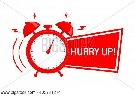 Retro Red Ribbon With Alarm On White Backdrop. Hurry Up Concept. Vector Illustration.