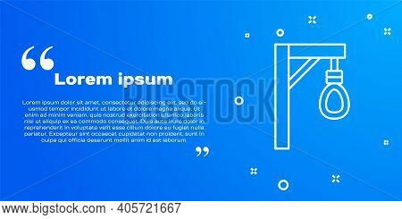 White Line Gallows Rope Loop Hanging Icon Isolated On Blue Background. Rope Tied Into Noose. Suicide