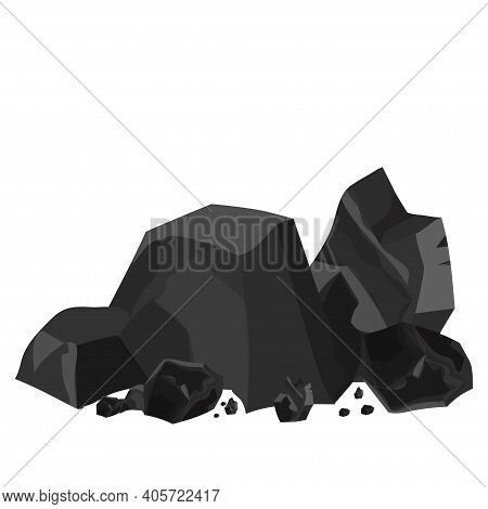 Coal Pile, Energy Industrial Material Isolated On White Background In Cartoon Style In Black And Gre