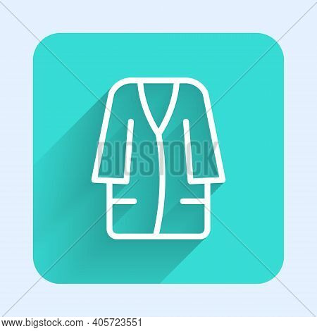 White Line Bathrobe Icon Isolated With Long Shadow. Green Square Button. Vector