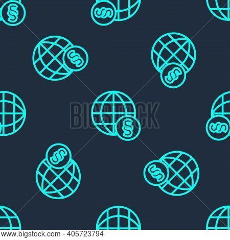 Green Line International Law Icon Isolated Seamless Pattern On Blue Background. Global Law Logo. Leg