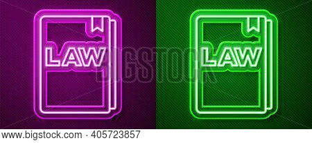 Glowing Neon Line Law Book Icon Isolated On Purple And Green Background. Legal Judge Book. Judgment