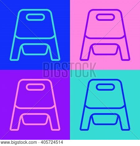 Pop Art Line Baby Potty Icon Isolated On Color Background. Chamber Pot. Vector