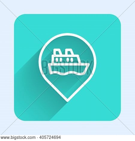 White Line Location With Cruise Ship Icon Isolated With Long Shadow. Travel Tourism Nautical Transpo