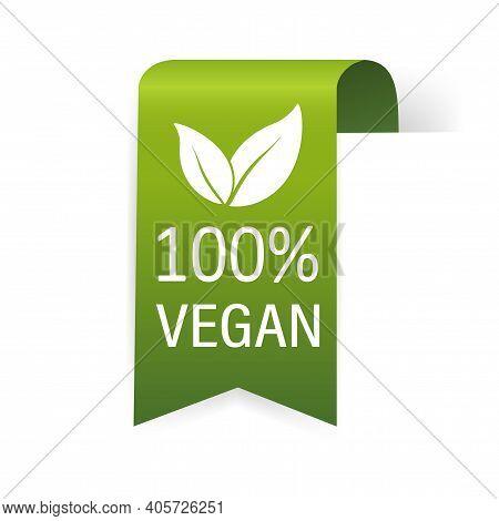 Vegan Emblem. Vegan, Great Design For Any Purposes. Ribbon, Symbol And Background. Eco Friendly Vect