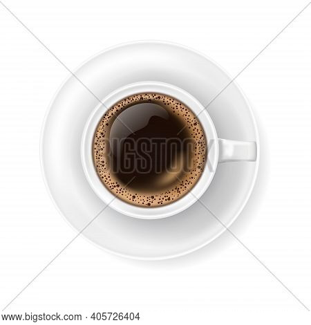 Top View At White Coffee Cup On Plate. Realistic Vector Illustration Of Hot Coffee Drink Mug - Espre