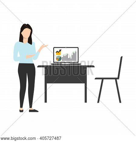 Business Presentation. Businesswoman Standing Near The Blackboard Making A Presentation. Indicates A