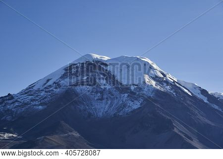 Snow Capped Volcano Chimborazo Is The Highest Mountain In Ecuador And The Summit Is The Farthest Poi